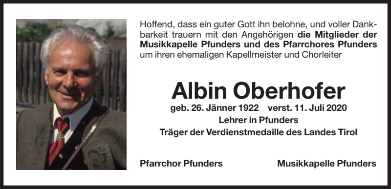Albin-Oberhofer-Todesanzeige